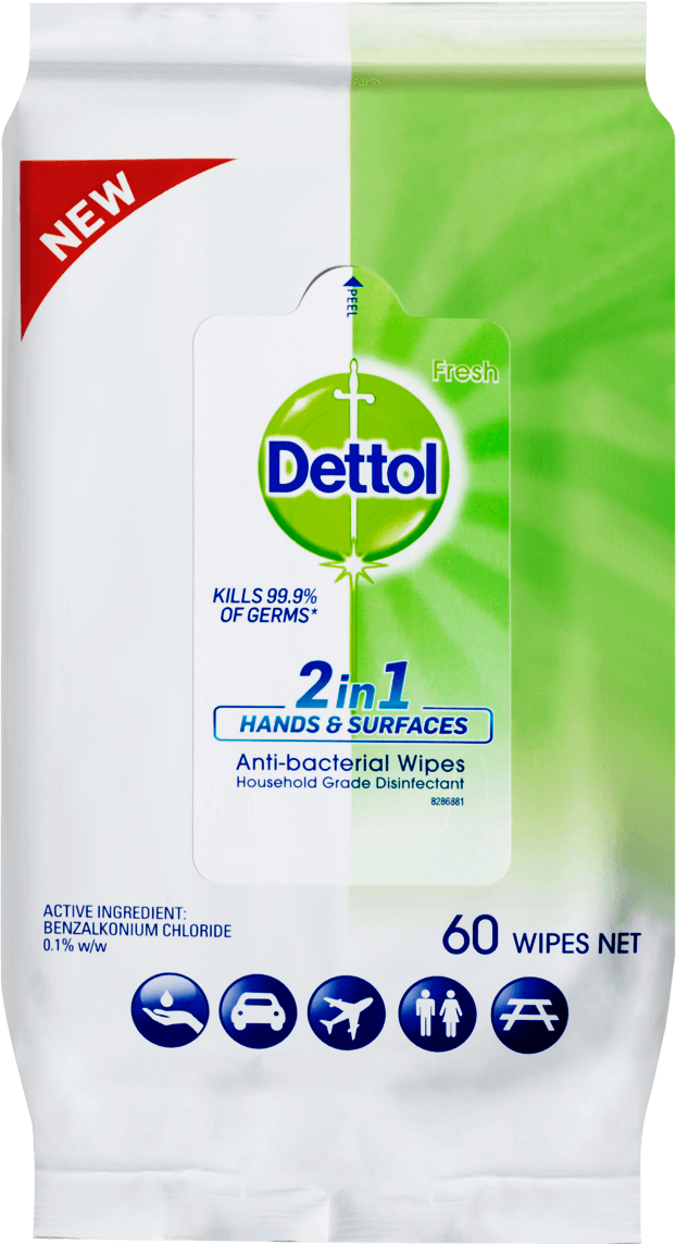 Dettol 2 in 1 Hand & Surfaces Anti-Bacterial Wipes