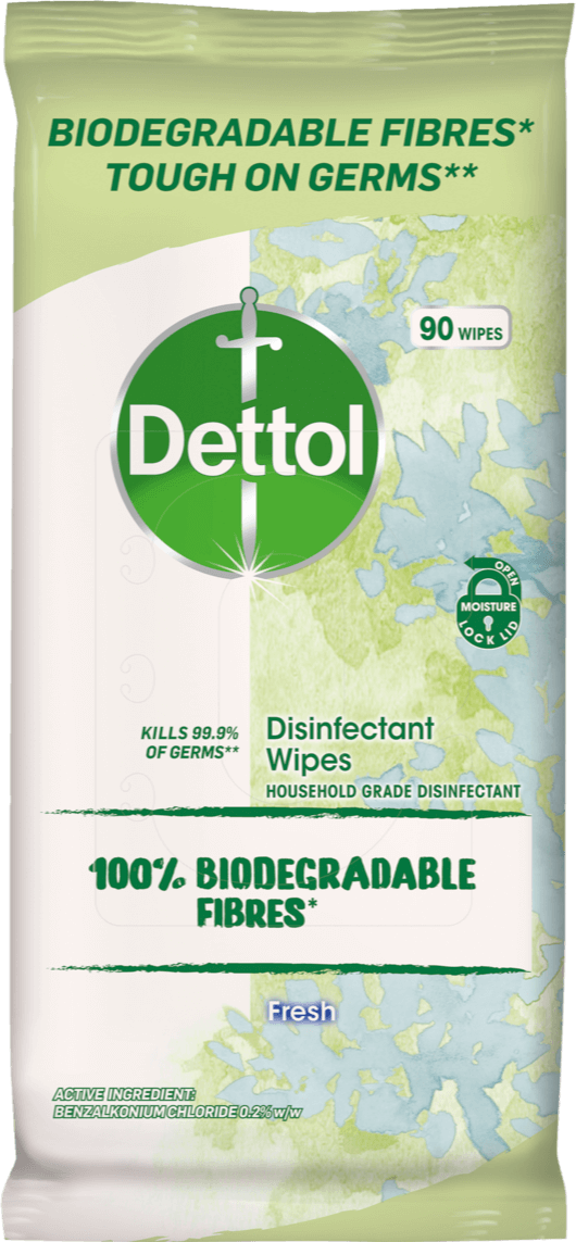 Dettol Disinfectant Cleaning Wipes with Biodegradable Fibres*